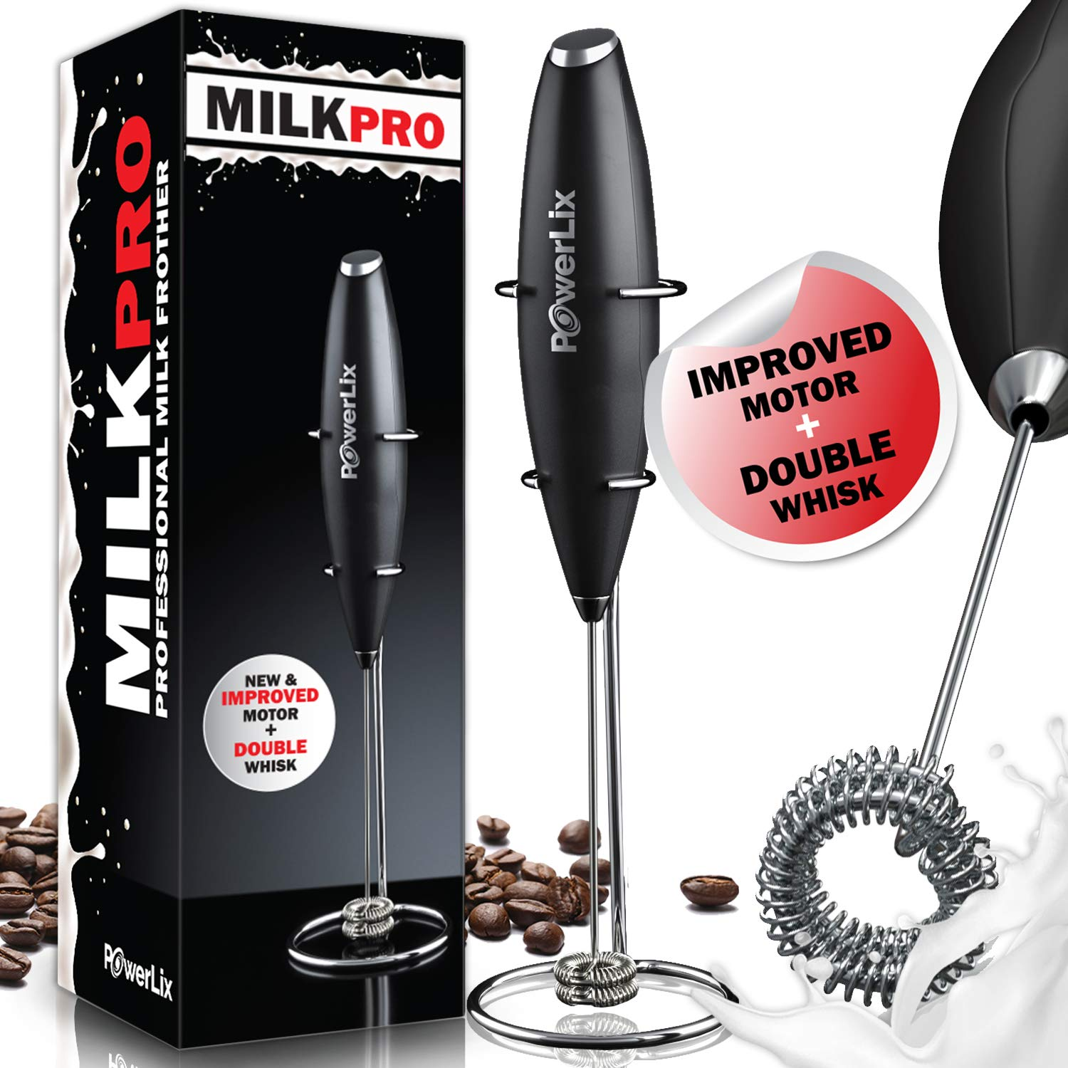PowerLix Milk Frother Handheld Battery Operated Electric Foam Maker