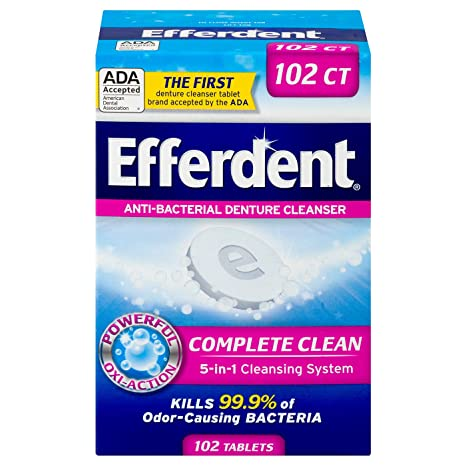 Efferdent Anti Bacterial Denture Cleanser | 5 In 1 Cleansing System | 102 Tablets by Efferdent