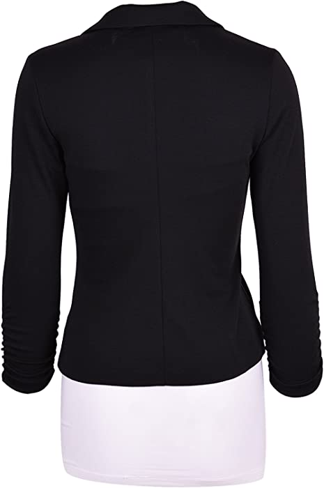 Auline Collection Women S Casual Work Solid Color Knit Blazer Black