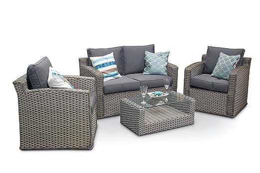 Chelsea 4 piezas Juego de muebles de jardín de mimbre de ...