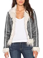 Simplee Apparel Women's Faux Fur Suede Coat Jacket Cardigan Outerwear Gray