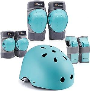 Joncom Kids Bike Helmet, Toddler Helmet Adjustable for Kids Youth, Knee Pads Elbow Pads Wrist Guards Kids Protective Gear Set for Skateboard, Bike, Roller Skating, Cycling, Scooter