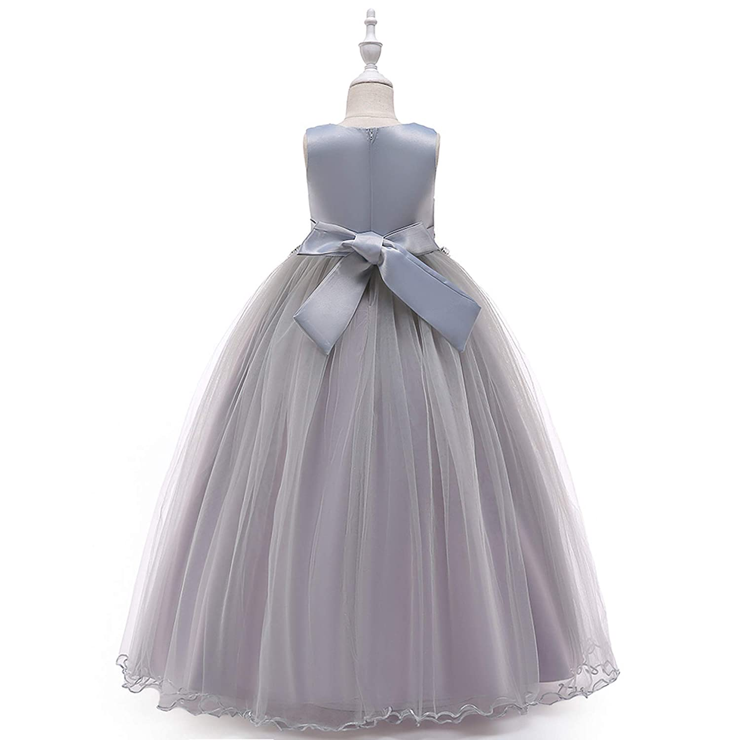 d6e8b5dcce9 Amazon.com : NOMSOCR Kids Lace Flower Costume Dress Girl Pageant Christmas  Party Princess Dresses (6-7 Years, Grey) : Garden & Outdoor
