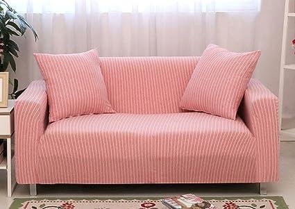 Amazon.com: ChezMax Striped Pattern Soft Cotton Fabric Sofa Cover 1 ...