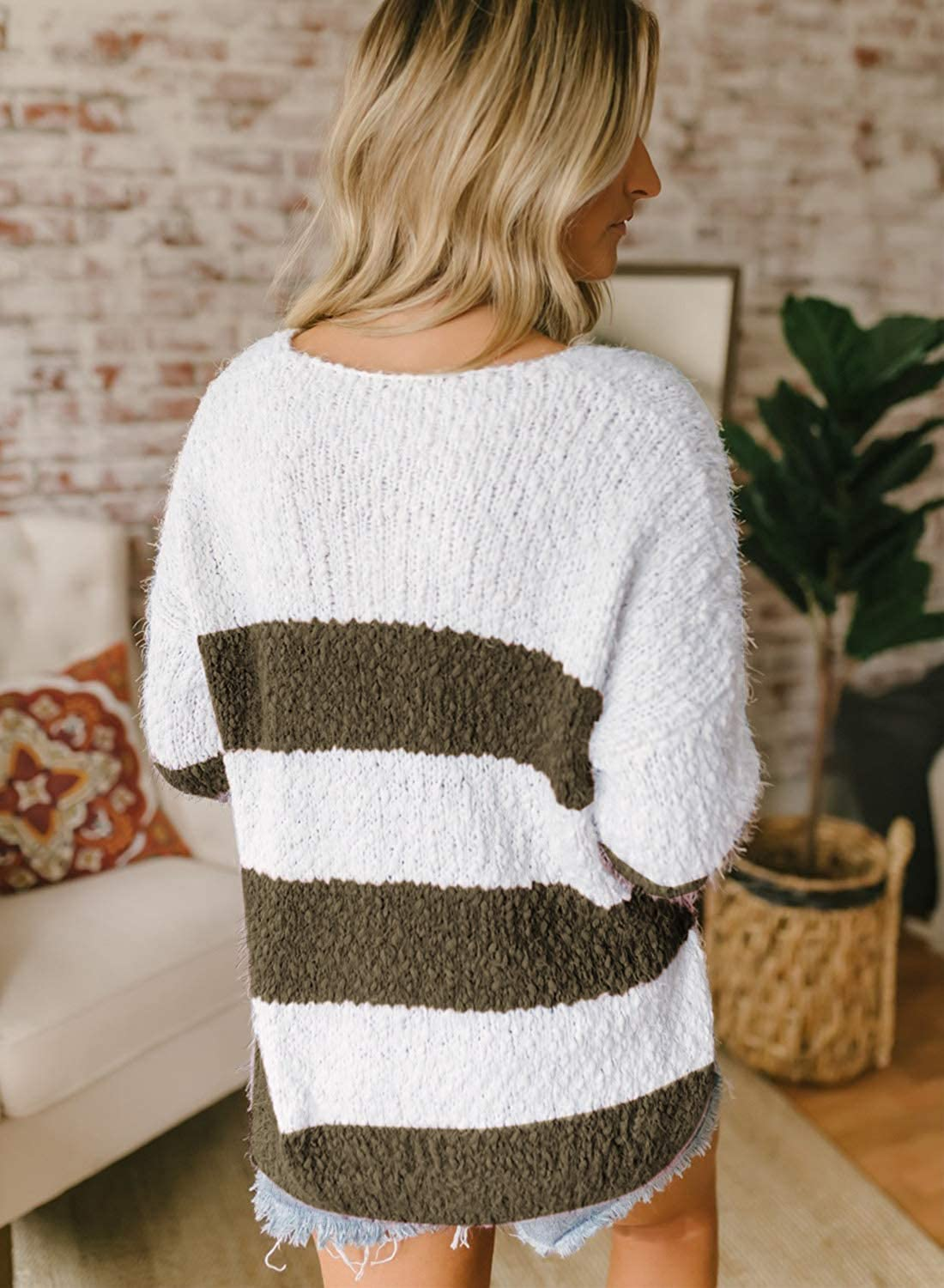 MEROKEETY Womens Long Sleeve Color Block Striped V Neck Fuzzy Knit Sweater Side Slit Pullover Tops