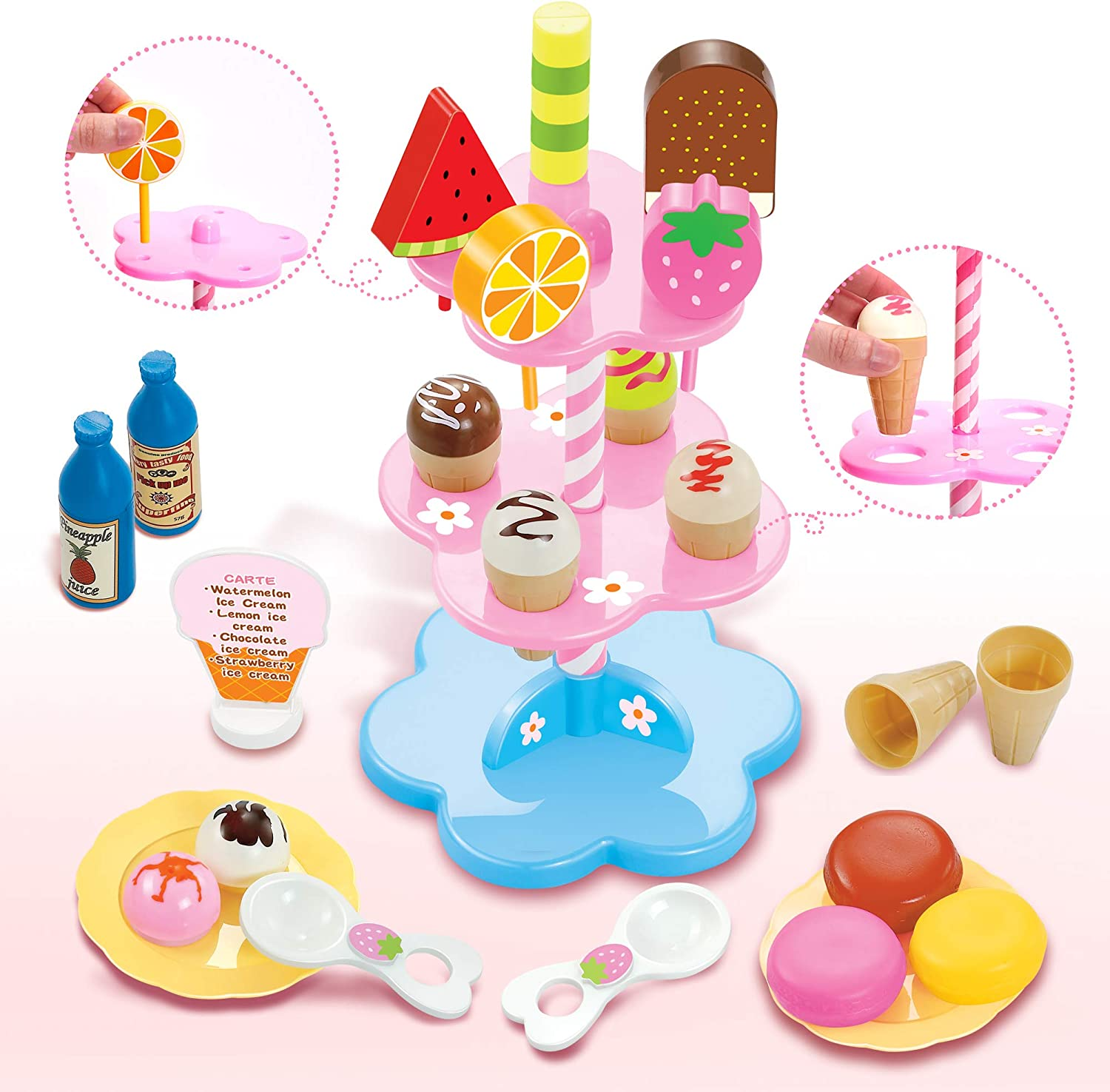 DIY Role Play Toy Ice Cream Desserts Lolly Stand Pretend Play Set Food Xmas