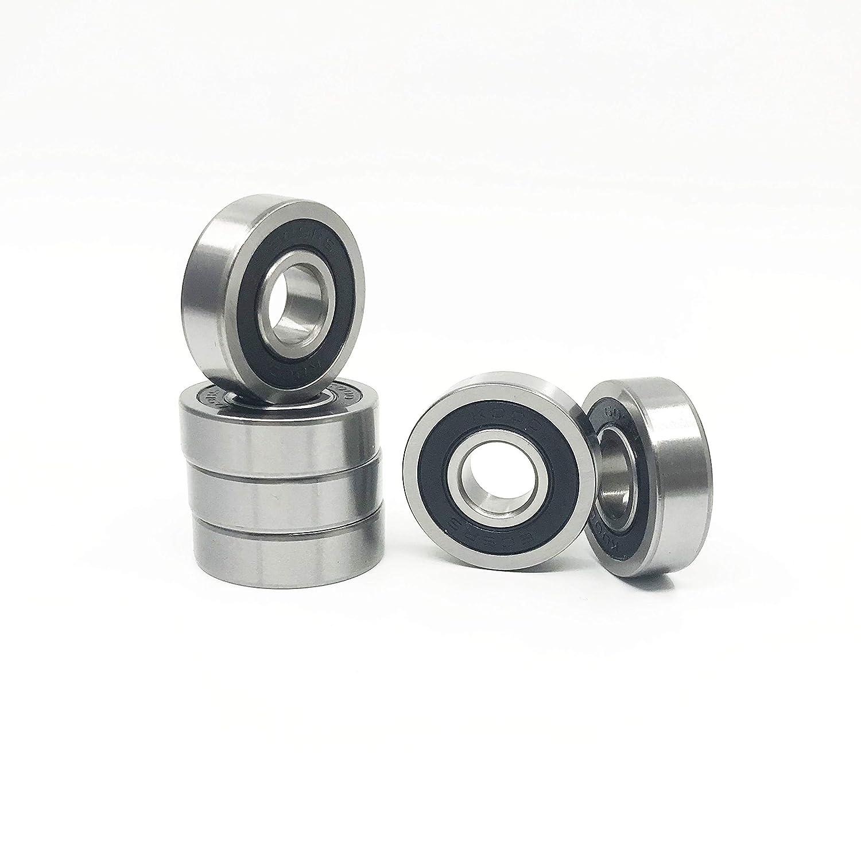 10 PCS 6902-2RS 15x28x7 Ball Bearings Black Rubber Sealed Bearing
