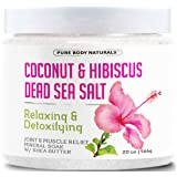 Pure Body Naturals Coconut and Hibiscus Shea Butter Dead Sea Bath Salts, 20 oz