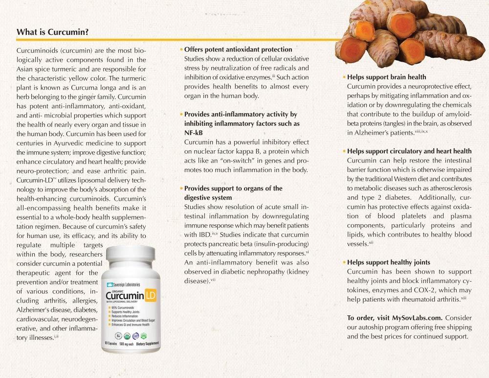 Amazon.com: Organic Curcumin-LD - 95% Curcumonoids 60pc 500mg Capsules with Proprietary Liposolmal For 4x More Bioactive Absorption. Non GMO Veggie Caps.