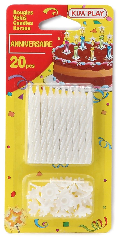Bianco Confezione da 20 candeline Colore KimPlay 610