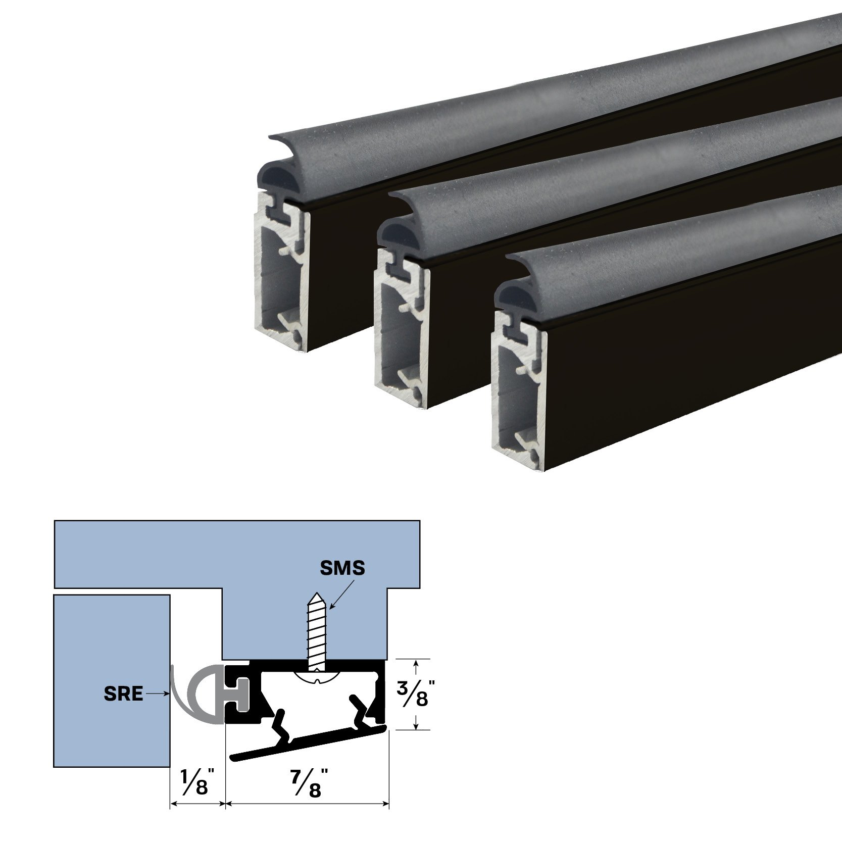 Mechanically Fastened Door Seal Kit with Snap-On Cover (36'' X 84'', Dark Bronze) by Legacy Manufacturing, LLC.