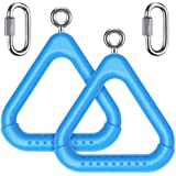 child 0017 PAIR SWING SET STUFF COMMERCIAL COATED TRIANGLE TRAPEZE RINGS BLUE