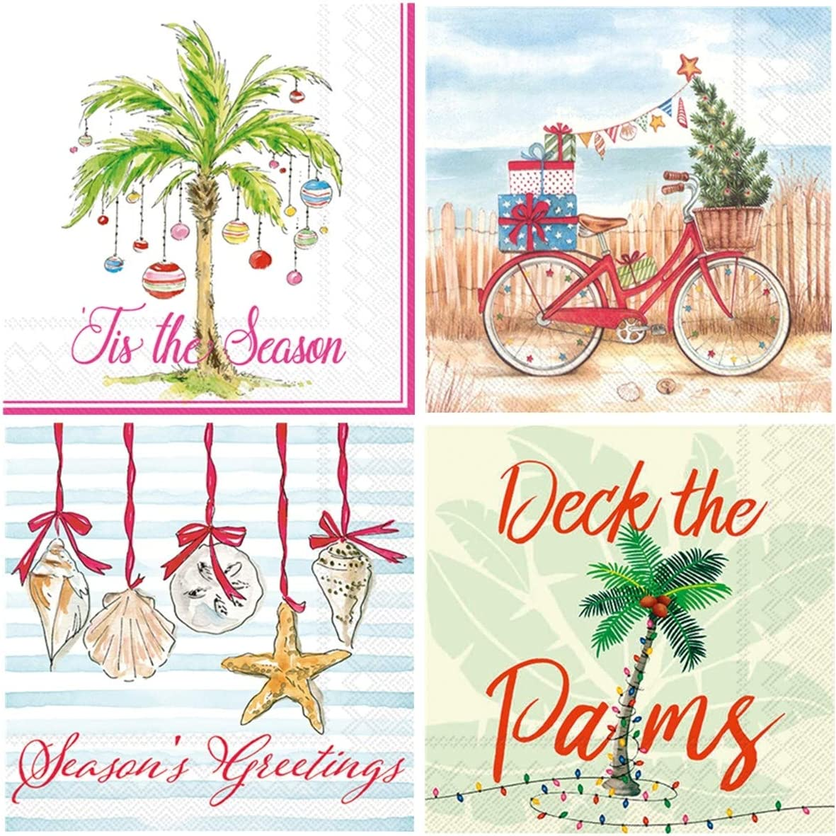 Boston International 20 Count 3-Ply Paper Cocktail Napkins, Set of 4 Christmas Beach Themes