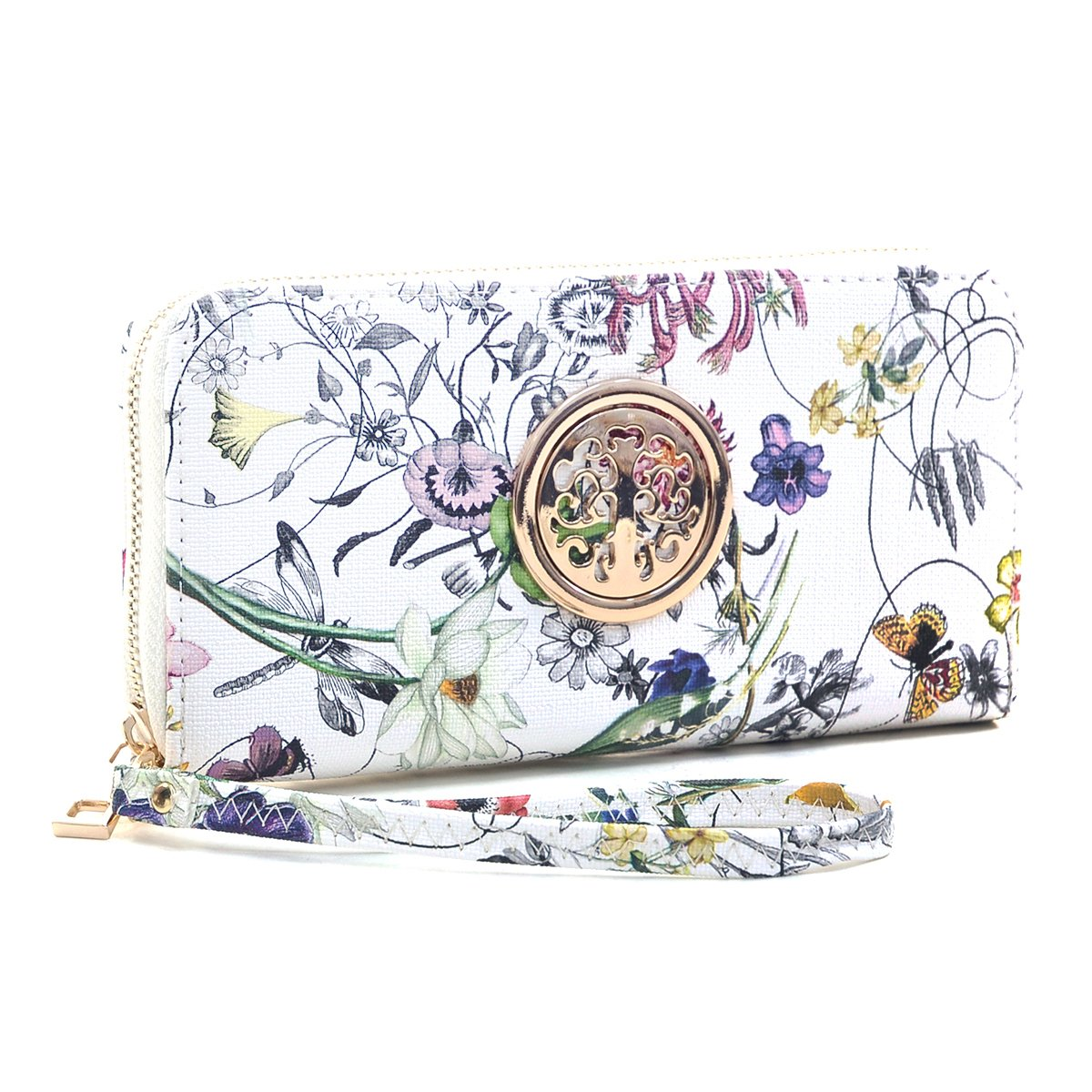 Women Fashion Floral Vegan Leather Wallet Purse for Women Credit Case Wristlet Wallet
