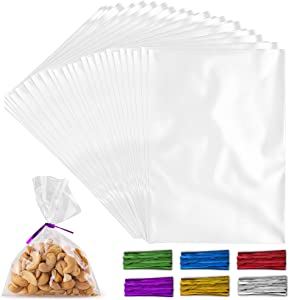 Simple Craft 200 Pack Candy Treat Cellophane bags - 4x6 Thick Plastic Candy Bags With Ties For Goodie Bags - Clear Cellophane Treat Bags For Candy, Cookies & Pastries (4''x6