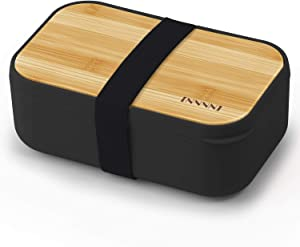Japanese Bento Box Lunch Containers for Adults & Kids Black - Microwave safe, Bpa free, Leakproof, Men Women