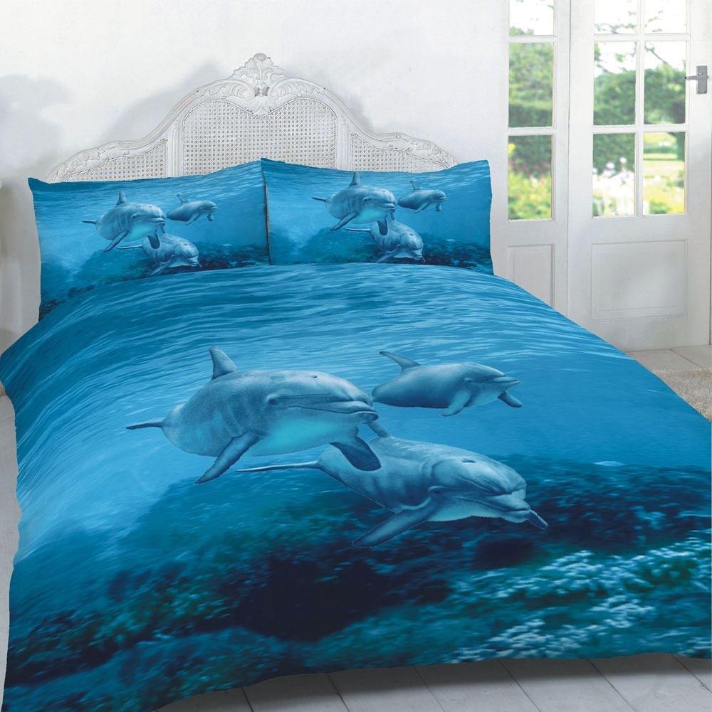 GC-Bettbezug-Sets mit 3D-Tiermuster-Drucken, Betten-/Kissenbezug in Kingsize, Doppel- oder Einzelbettgröße., 3d Duvet Dolphins Nz, Doppelbett