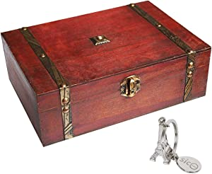 "SICOHOME Treasure Box,9.0"" Pirate Small Wooden Box for Jewelry Storage,Cards Collection,Gifts and Home Decoration"
