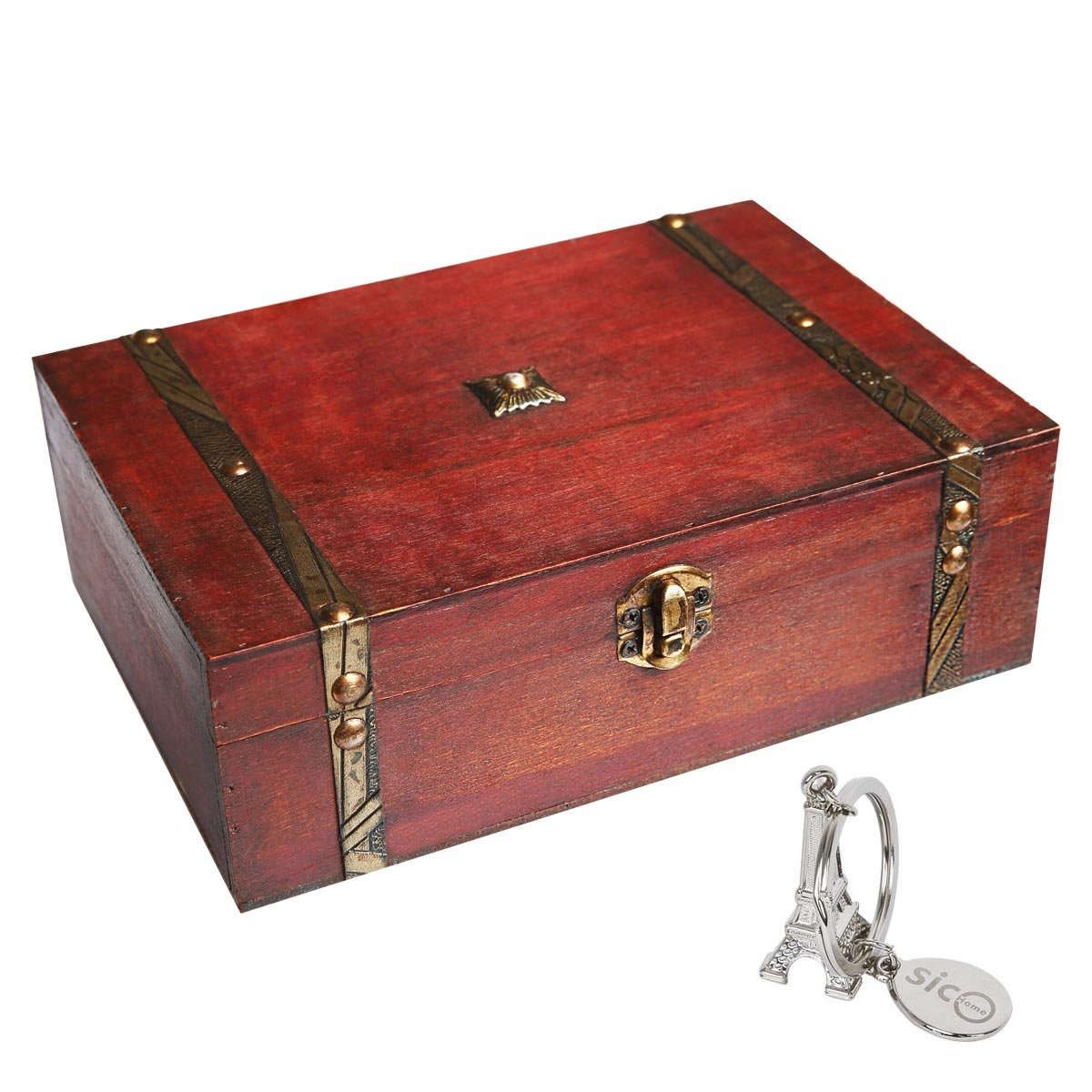 SICOHOME Treasure Box 9.0inch Pirate Small Trunk Box for Jewelry Storage,Cards Collection,Gifts and Home Decoration