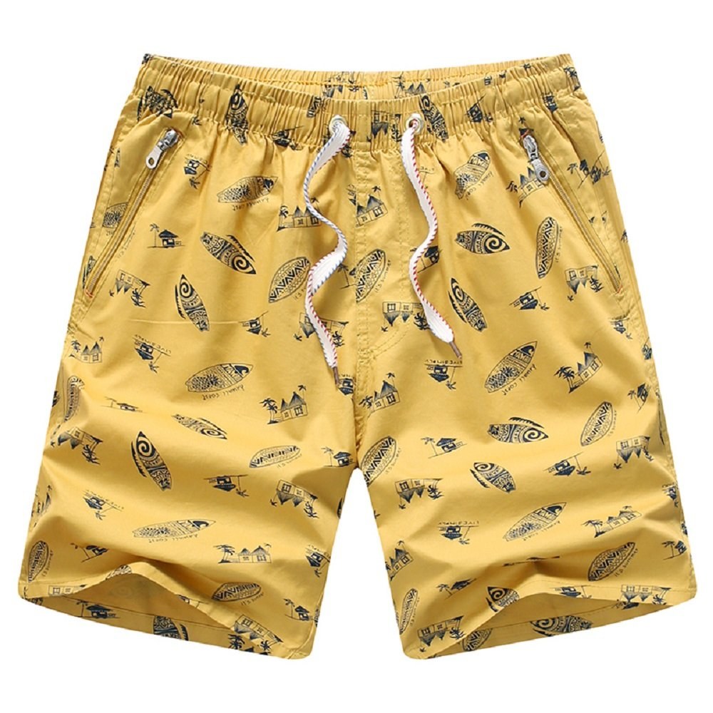 Dwar Mens Cotton Short Swim Trunks with Zip Pockets (X-Large, Yellow)