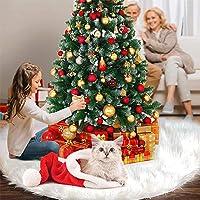 Flysee Falda del árbol de Navidad Blanco Christmas Tree Skirt Base de árbol de Navidad para la Decoración de la Fiesta…