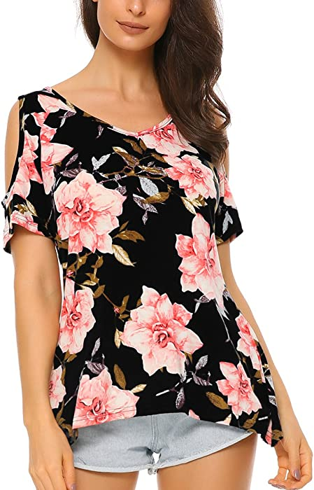 3884159792c25 Mixfeer Women s Floral Print Cut Out Shoulder Short Sleeve Tunic Tops T  Shirt Blouse Black
