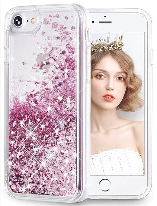 wlooo Handyhülle iPhone 8 Glitzer Hülle, iPhone 6s Hülle, Flüssig Treibsand Glitter Quicksand Transparent Silikon Weich TPU B