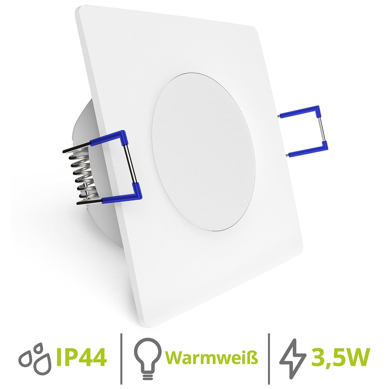 linovum 6er Set quadratische Deckenspots mit 3, 5W neutralweiß 230V für Bad & Außenbereich IP44 mit sehr flachem Einbau 29 mm [Energieklasse A+]