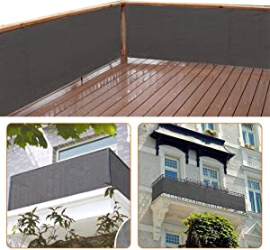 zimo Balcony Privacy Shield Sun Protection Opaque Weather-Resistant Balcony Cover Fence Privacy Screen 3×16.4' (Grey)