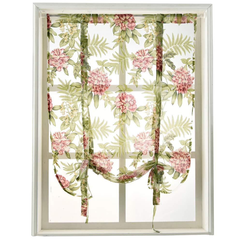 "NAPEARL 1 Piece Tie Up Curtain Rod Pocket Short Balloon Organza Burnout Sheer Valance Kitchen Green Summer Floral Design (42"" Wx63 L)"