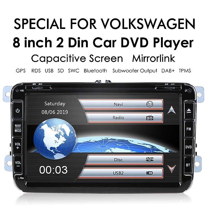 Radio de coche para Volkswagen Golf Passat Jetta Skoda Seat (8 pulgadas, 2 DIN, reproductor de DVD, navegación GPS, radio FM AM, Bluetooth, USB, SD, 7 ...