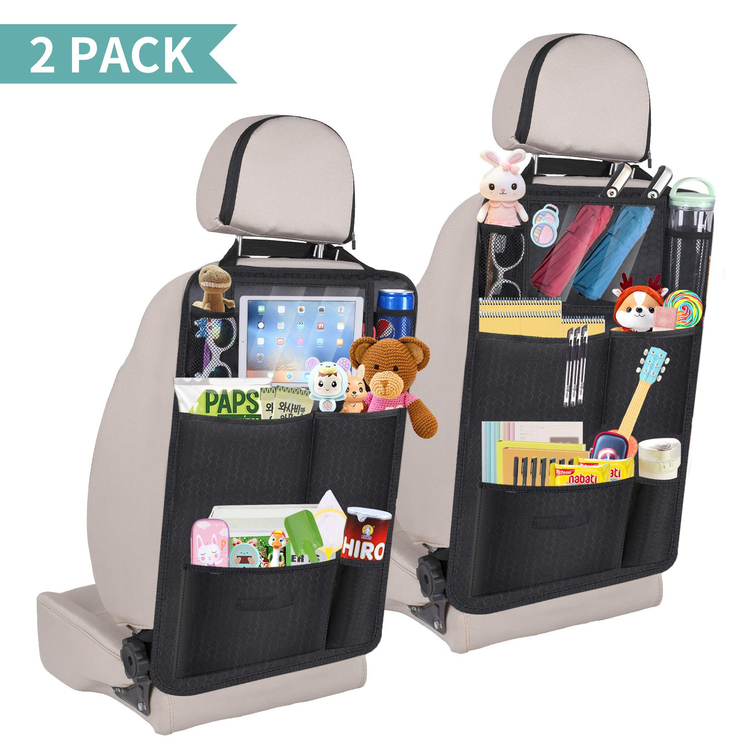 Enjoyee Upgraded 2 Pack Car Back Seat Organizer for Kids Car Organizer Kick Mats with 7 Storage Pockets Backseat Car Organizer for Toy Bottle Drink Vehicles by Enjoyee