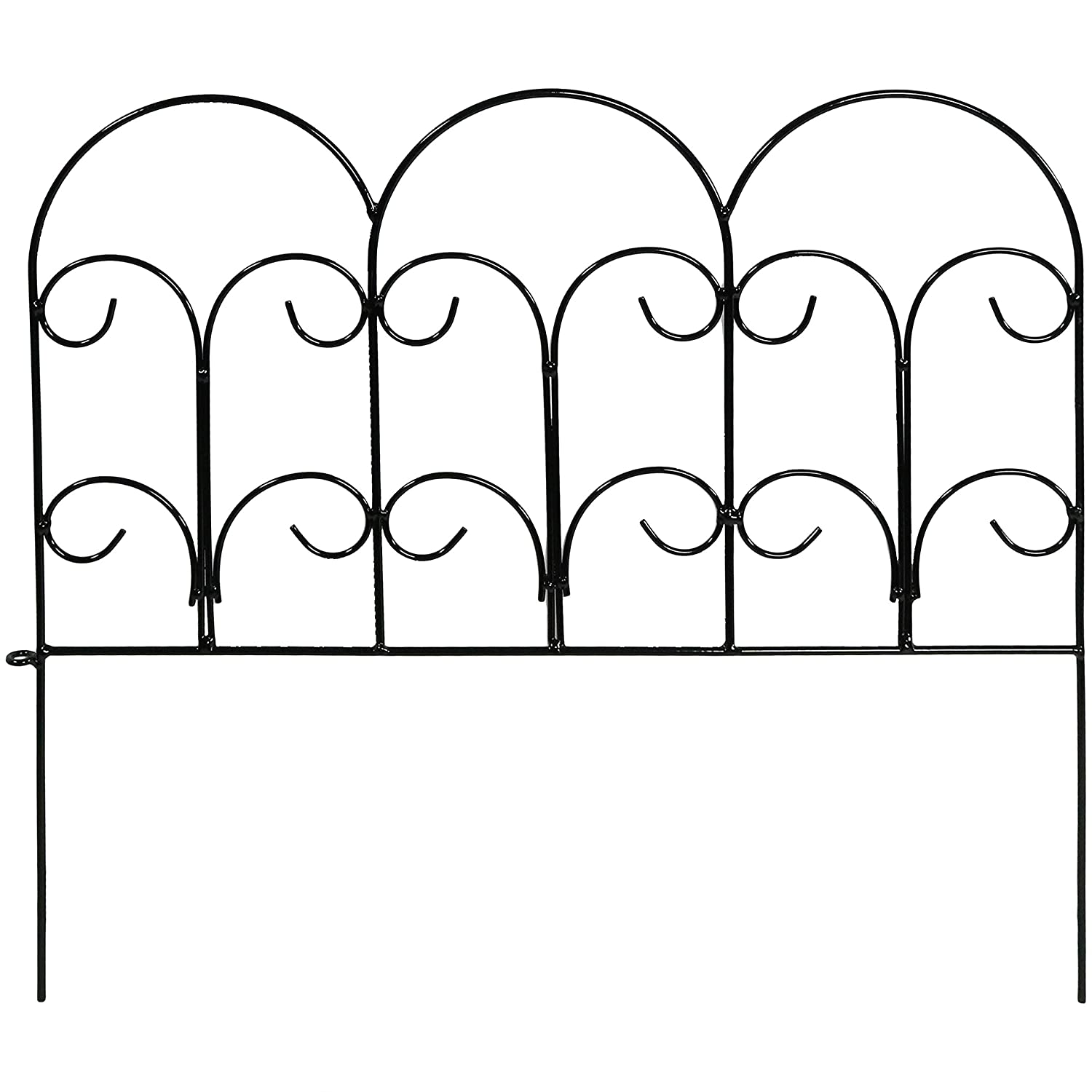 Sunnydaze 5 Piece Victorian Border Fence Set, Decorative Metal Garden Fencing, 16 Inches x 18 Inches Wide Each Piece, 7.5 Feet Overall