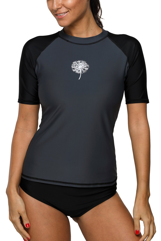 Sociala Womens Short Sleeve Rash Guard Swim Shirt Rashguard Swimsuit Top L Grey