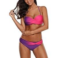 Lovezesent Women 2pcs Color Block Push up Bikini Set Swimsuit with Boyshorts