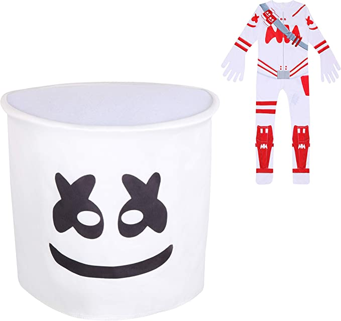 Kids Boys MarshMello DJ Mask Cosplay Costume Fancy Halloween Party Jumpsuit Set
