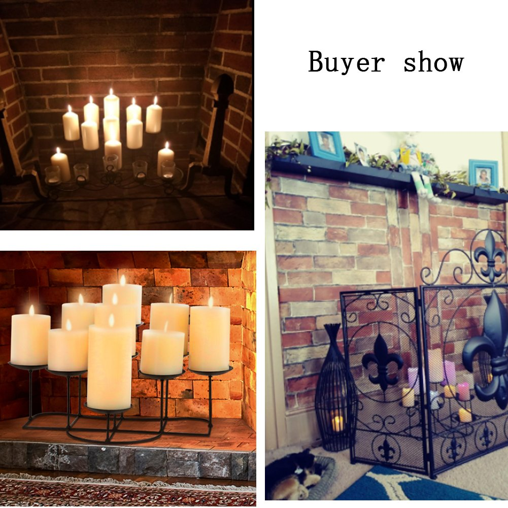 smtyle DIY 9 Mantle Candelabra Flameless or Wax Candle Holders For Fireplace with Black Iron Decoration on Desk / Floor by smtyle (Image #7)