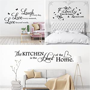 3 Pieces Wall Quote Stickers Wall Decals Love Family Inspirational Saying Stickers Mirror Wall Stickers Wall Art Decor for Living Room Kitchen Bedroom House
