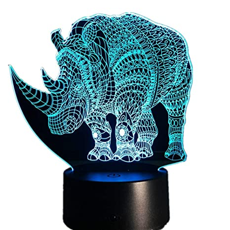Night LampParty Deco 3D KangYD Rhinoceros LampColorful rBxodCe