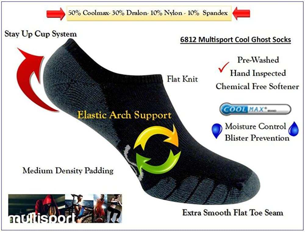 Eurosocks Sport Specific Athletic Socks Stay Up Cup Elastic Arch Support 6812 Padded Extra Smooth Seams