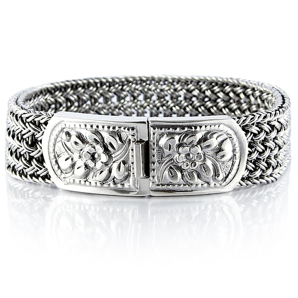 VY JEWELRY 925 Sterling Silver Men Braided Wide Bracelet - Made in Thailand - 8.7