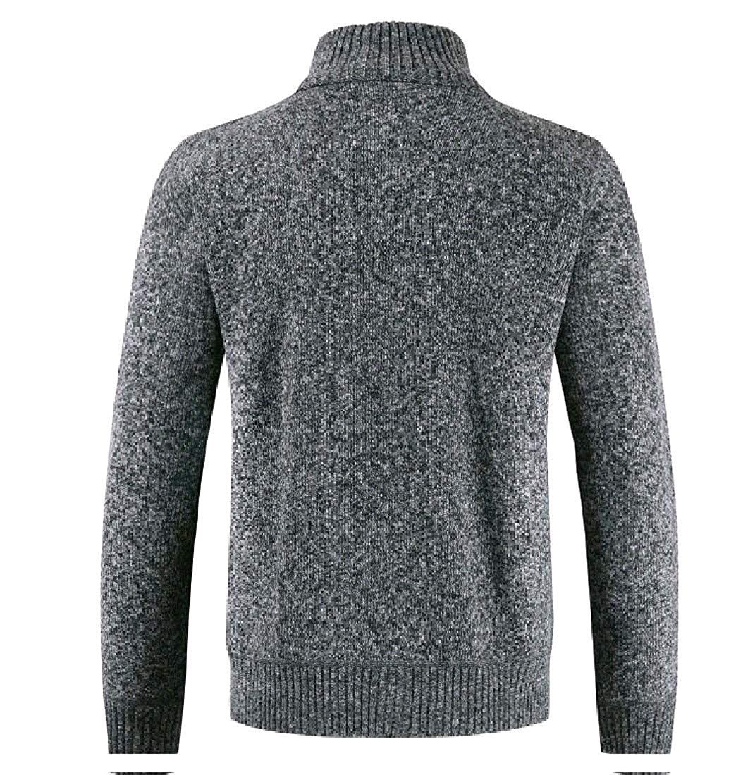 YUNY Men Woven Marled Cable Stand Collar Thick Pullovers Sweater Dark Grey 2XL