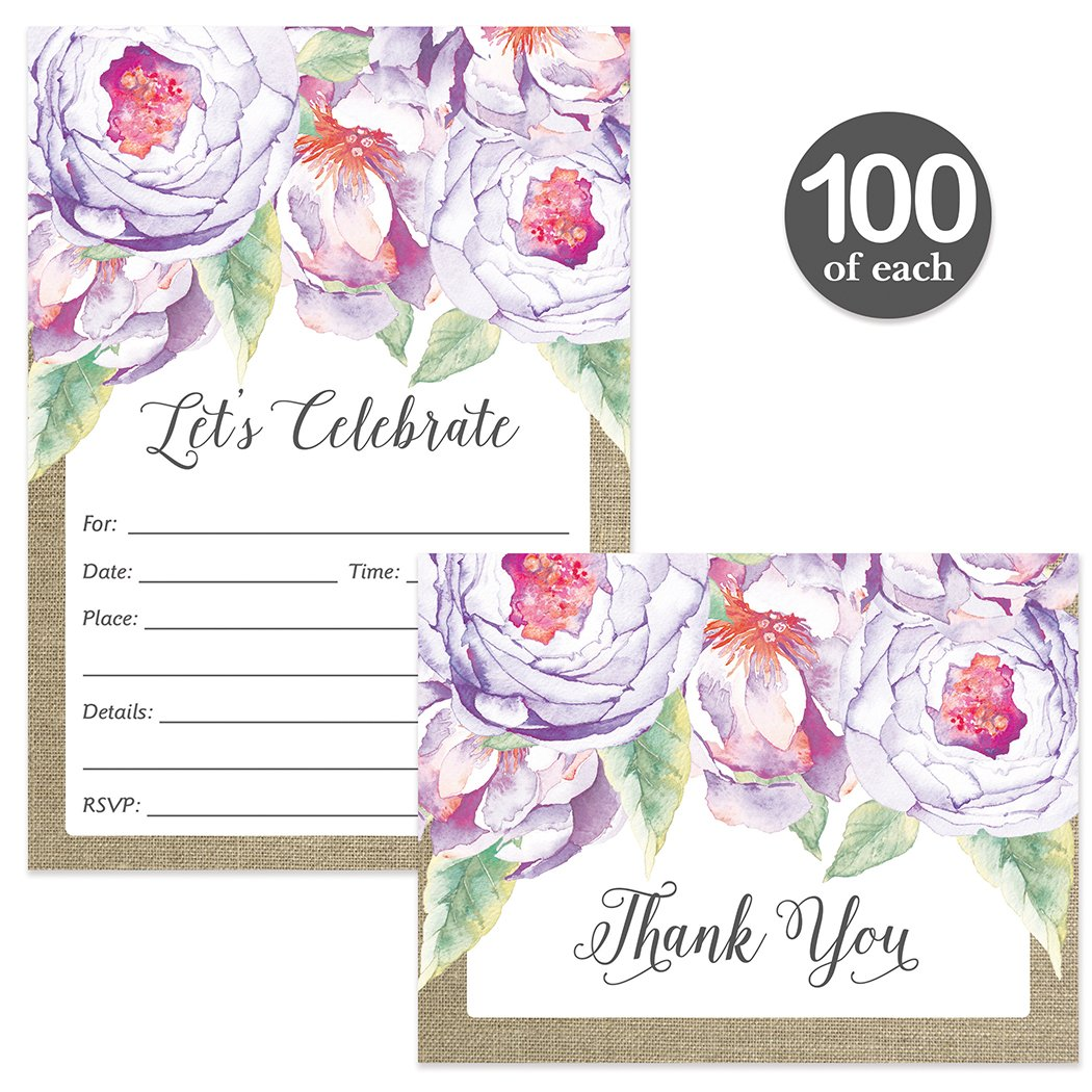 All Occasion Invitations & Folded Thank You Cards Matching Set with Envelopes ( 100 of Each ) Beautiful for Bridal Shower Engagement Birthday Party Fill-in Invites & Thank You Notes Best Value Pair by Digibuddha (Image #1)