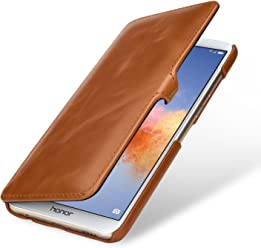 StilGut Book Type Case, custodia per Huawei Honor 7X a libro booklet in vera pelle, Cognac con Clip