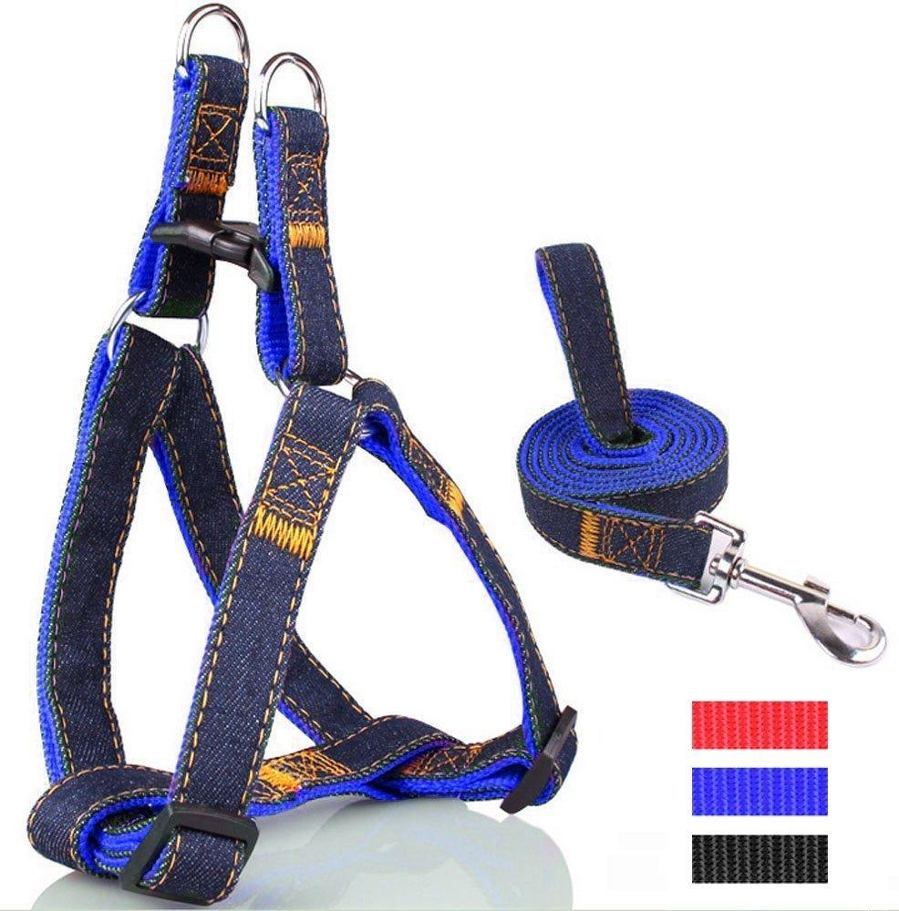 Cowboy réglable harnais pour chien avec Leash Leash Dog Pet Harness Strap Rope Chain (M Bleu) Generic