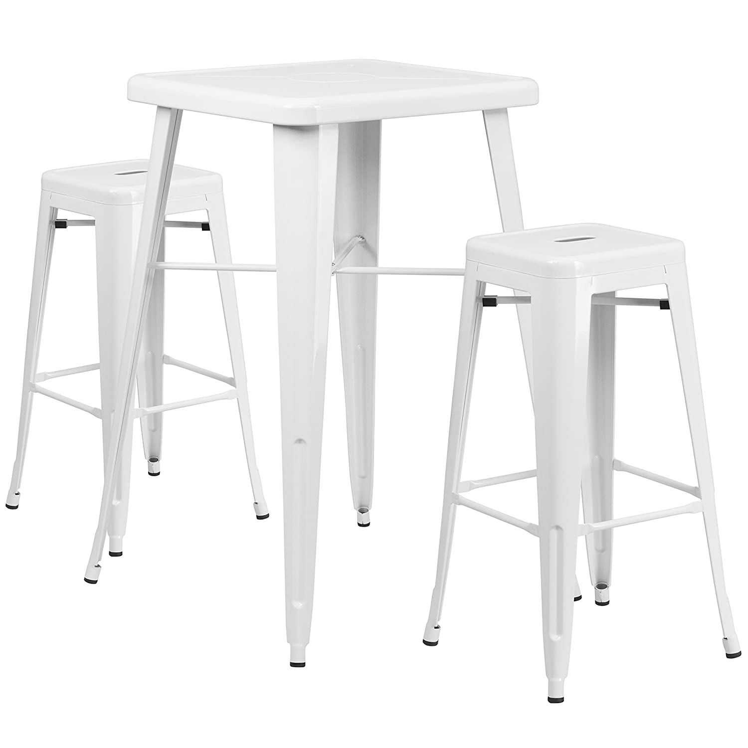 Flash Furniture 23.75'' Square White Metal Indoor-Outdoor Bar Table Set with 2 Square Seat Backless Stools