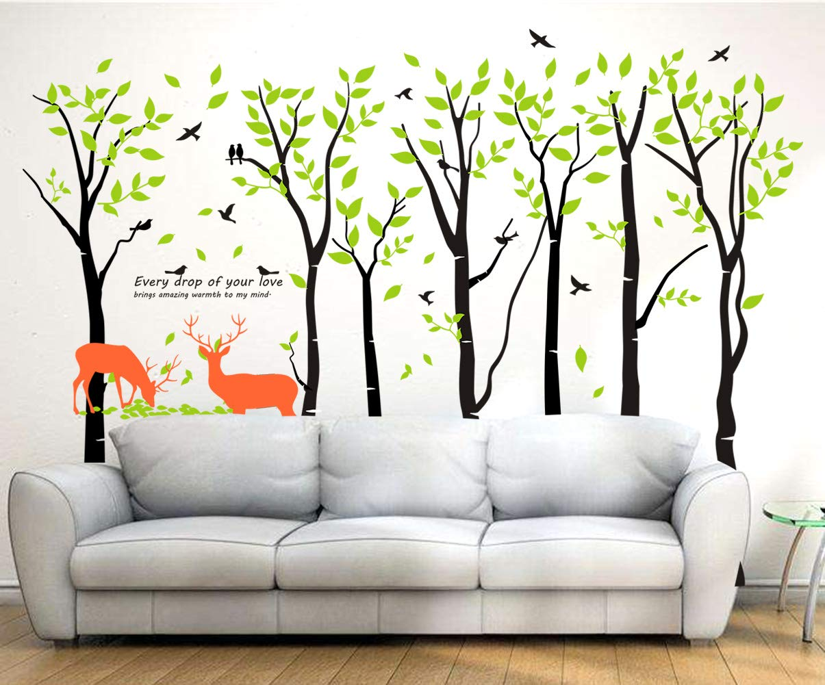 Mix Decor Tree Wall Decal - 7 Trees Wall Sticker Large Family Forest for Livingroom Kid Baby Nursery Room Deer Wooland Decoration Party Birthday Gift,118x83 Inch Black + Green by Mix Decor (Image #2)
