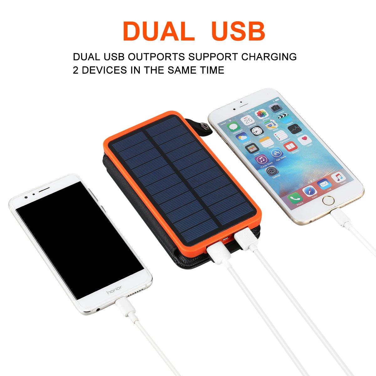 Solar Powerbank 10000mAh Faltbar Outdoor Solar Panel Ladegerät Dual USB Solar Batterie für Handy, iPhone, Samsung Galaxy ipad, Kamera (Orange+3 Panel)