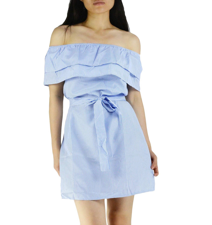 bluee YSJERA Women's Striped Sexy Flounces Off Shoulder Mini Short Dress Casual Evening Party Dresses