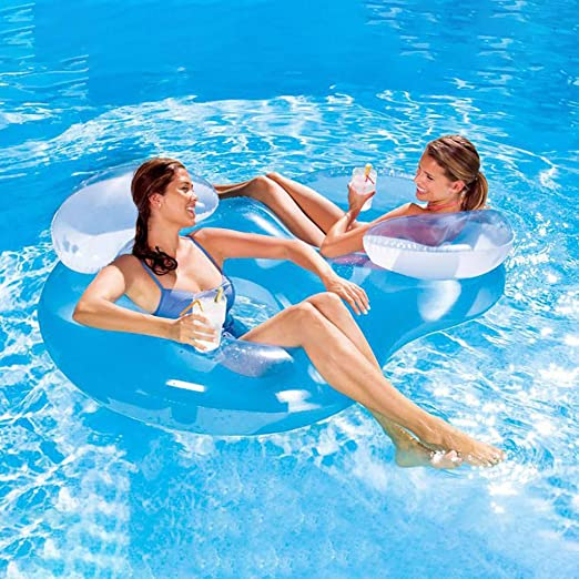 Portable Swimming Pool Lounger Transser Inflatable Pool Float Floating Raft Summer Swimming Pool Party with Headrest 3 in 1 Multi- Purpose Inflatable 1-2 Person Floating Row Blue